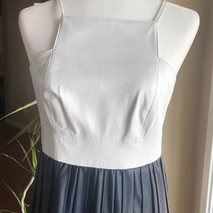 White and navy blue leather mini dress
